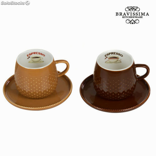 Set 2 tazas con plato coffee - Colección Kitchen's Deco by Bravissima Kitchen
