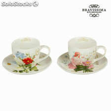 Set 2 tazas con plato flower - Colección Kitchen's Deco by Bravissima Kitchen
