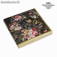 Set 20 servilletas bloom black - Colección Kitchen's Deco by Bravissima Kitchen