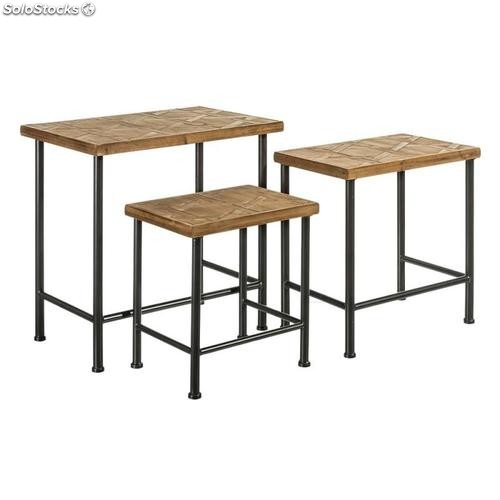 Set 3 mesitas natural madera-metal 60x40x60,50cm