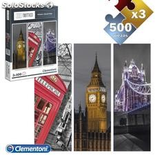 Set 3 puzzle 500 pcs tríptico londres