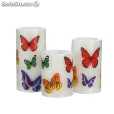 Set 3 vela LED mariposas blanco 7,50x7,50x15cm