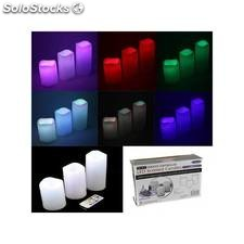 Set 3 velas de led colores con mando a distancia
