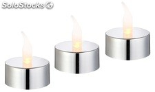 Set 3 velas Led cromadas