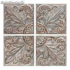 Set 4 mural pared blanco rozado metal 41x5,50x41cm
