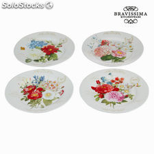 Set 4 platos flowers bouquet - Colección Kitchen's Deco by Bravissima Kitchen