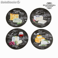 Set 4 platos quesos - Colección Kitchen's Deco by Bravissima Kitchen