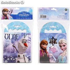 Set 6 ceras con libro colorear, disney -frozen- - disney - frozen -