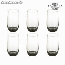 Set 6 vasos cristal negro - Colección Crystal Colours Kitchen by Bravissima