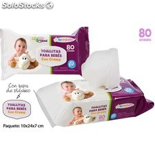 Set 80 toallitas bebe con crema c/tapa - natural care - 8433774004486 -