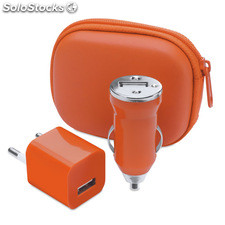 Set carregador usb. Orange