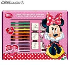 Set Colorear Minnie Mouse (7 sellos + 12 Rotuladores)