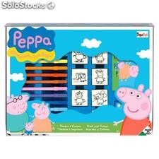 Set Colorear Peppa Pig (7 sellos + 12 Rotuladores)