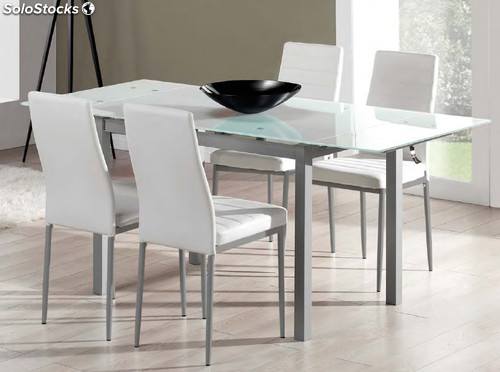 Set comedor mesa extensible cristal 4 sillas tapizadas for Set sillas comedor