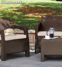 Set corfu balcony marron mesa +2 sillones