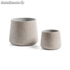 Set de 2 maceteros Lux - Color - Cemento gris