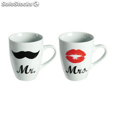 Set de 2 Tazas de porcelana Mr & Mrs ideales para regalar, 10,5 x 8 cm,