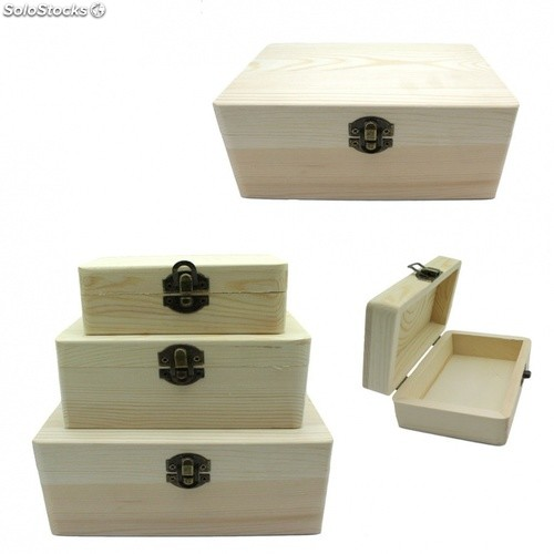 Set De 3 Cajas De Madera Natural Para Decorar Manualidades 19814 - Madera-para-decorar