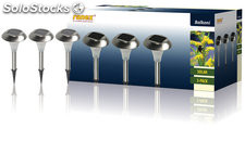 Set de 3 luces LED solares IP44 con pincho Ranex