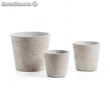 Set de 3 maceteros Lux - Color - Cemento gris