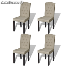 Set De 4 Sillas De Comedor Antigua Color Beige Arco