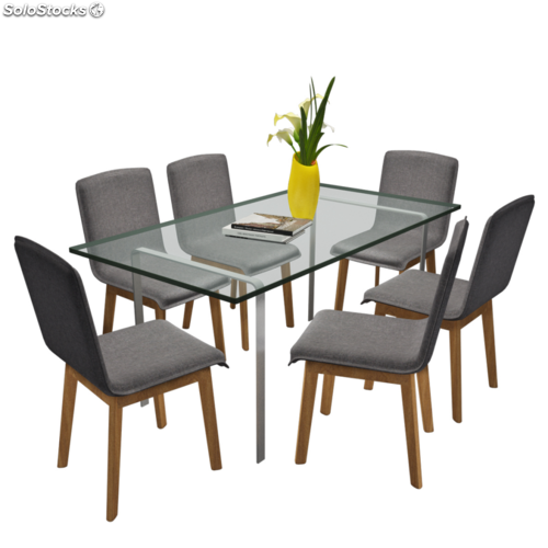 Set de 6 sillas de comedor de roble de color gris oscuro for Sillas comedor color gris