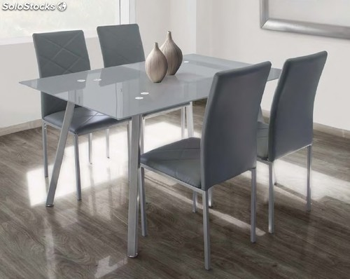 Set de comedor mesa cristal 4 sillas tapizadas gris 386066 for Sillas comedor color gris