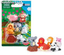 Set de Mini Gomas de Borrar Puzzle Bosque