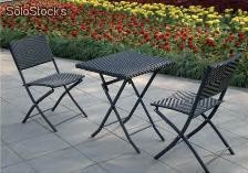 Set de terraza plegable rattan 2 sillas