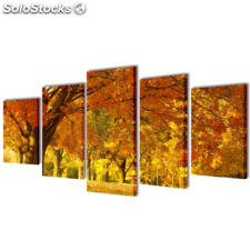 Set decorativo de lienzos para la pared modelo bosque arces, 100 x 50 cm