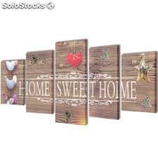 "Set decorativo de lienzos para la pared modelo ""Home sweet home"", 200 x 100 cm"
