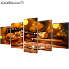 Set decorativo de lienzos para la pared modelo whisky y puro, 100 x 50 cm