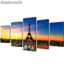 Set decorativo de lienzos para la pared Torre Eiffel 100 x 50 cm