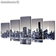 Set decorativo de lienzos para pared perfil Nueva York 100 x 50 cm