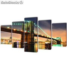 Set decorativo de lienzos para pared puente de Brooklyn 200x100 cm