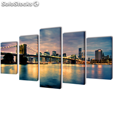Set decorativo de lienzos para pared río de Brooklyn 100 x 50 cm