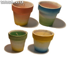 Set di 4 candele con vasetto portacandela in terracotta