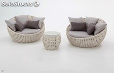 Set lounge Luna rattan abierto color blanco roto