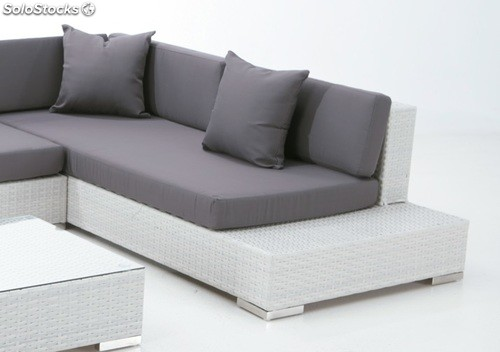Set lounge sofa esquinero terraza rattan blanco yala for Sofa exterior blanco
