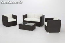 Set rattan chocolate Puerto Rico 4 plazas