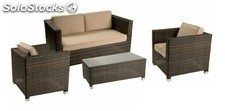 Set sofas rattan chocolate Garbi para 4 plazas