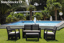 Set tarifa lounge marron mesa+ 2 sillones+ 1 sofa