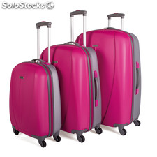 Set trolley abs colore del tempo mark Fucsia-Plata