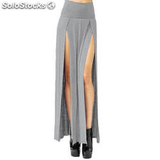 Sexy High Waisted Double Slit Split Skirt Open Leg Long Maxi Skirt Dress