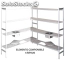 Shelf in anodised aluminium-modular element-mod. rf/c-n. 4 shelves-possibility