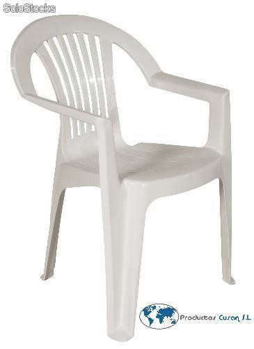 Silla blanca apilable con reposabrazos barata for Sillas de salon blancas