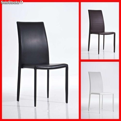 Silla de comedor cuero artificial marron negro blanco o for Sillas comedor marron