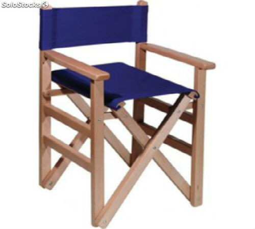 Silla de director plegable de madera con asiento y for Sillas plegables de tela