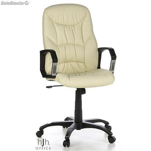 Silla de oficina crown piel beige reposabrazos curvados for Silla oficina reclinable