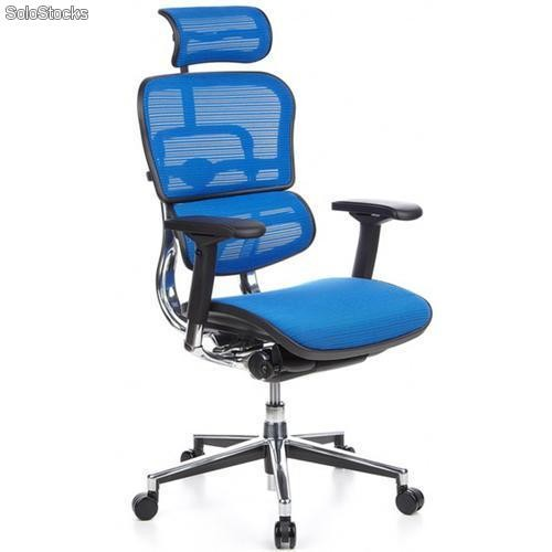Silla de oficina ergon mica ergomax ajustable color azul for Sillas para trabajar